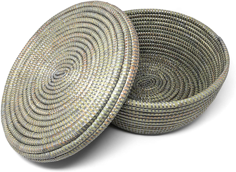 African Fair Trade Handwoven Small Lidded Box Basket, Silver