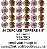 YOUR OWN PERSONALISED PHOTO / IMAGE 24 X 1.5 INCH PRE CUT CUPCAKE TOPPERS WAFER CARD