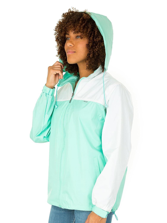 SUZZI Womens Windbreaker Jacket Hoodie - Water Resistant