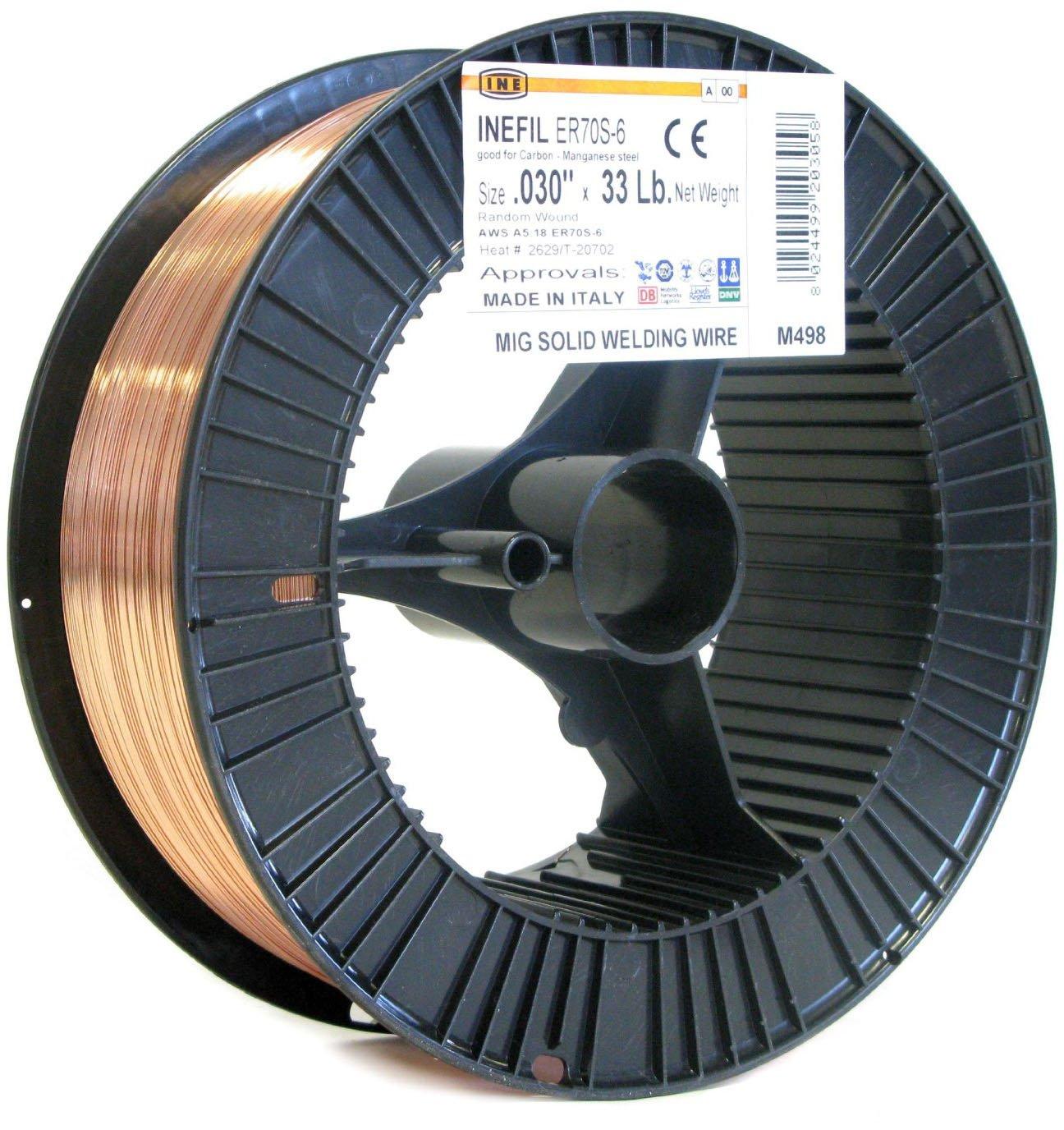 INEFIL ER70S-6 .030-Inch on 33-Pound Spool Random Wound Carbon Steel Mig Solid Welding Wire INE USA 8024499203058