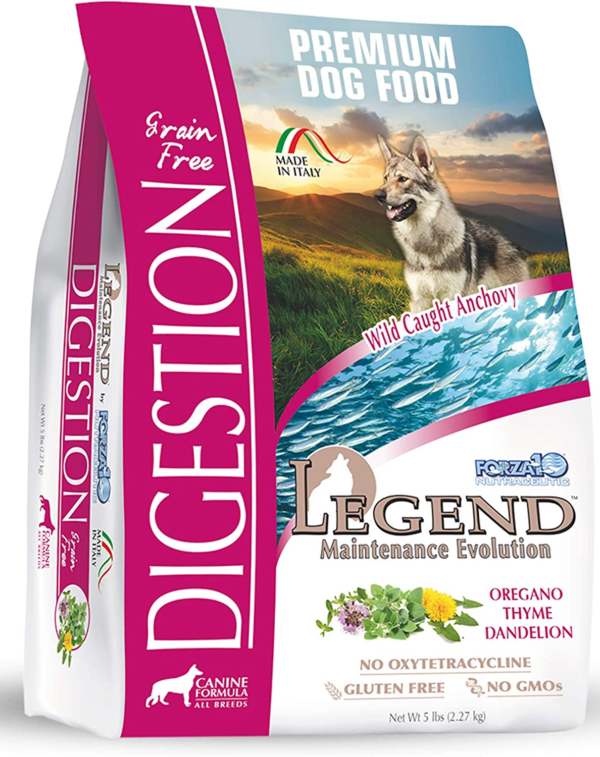 Forza10 Legend Digestion Dry Grain Free Dog Food, Sensitive Stomach Dog Food with Curative Herbs, 5 Pounds, Premium Quality Wild Caught Anchovy Flavor, for Adult Dogs, All Breed