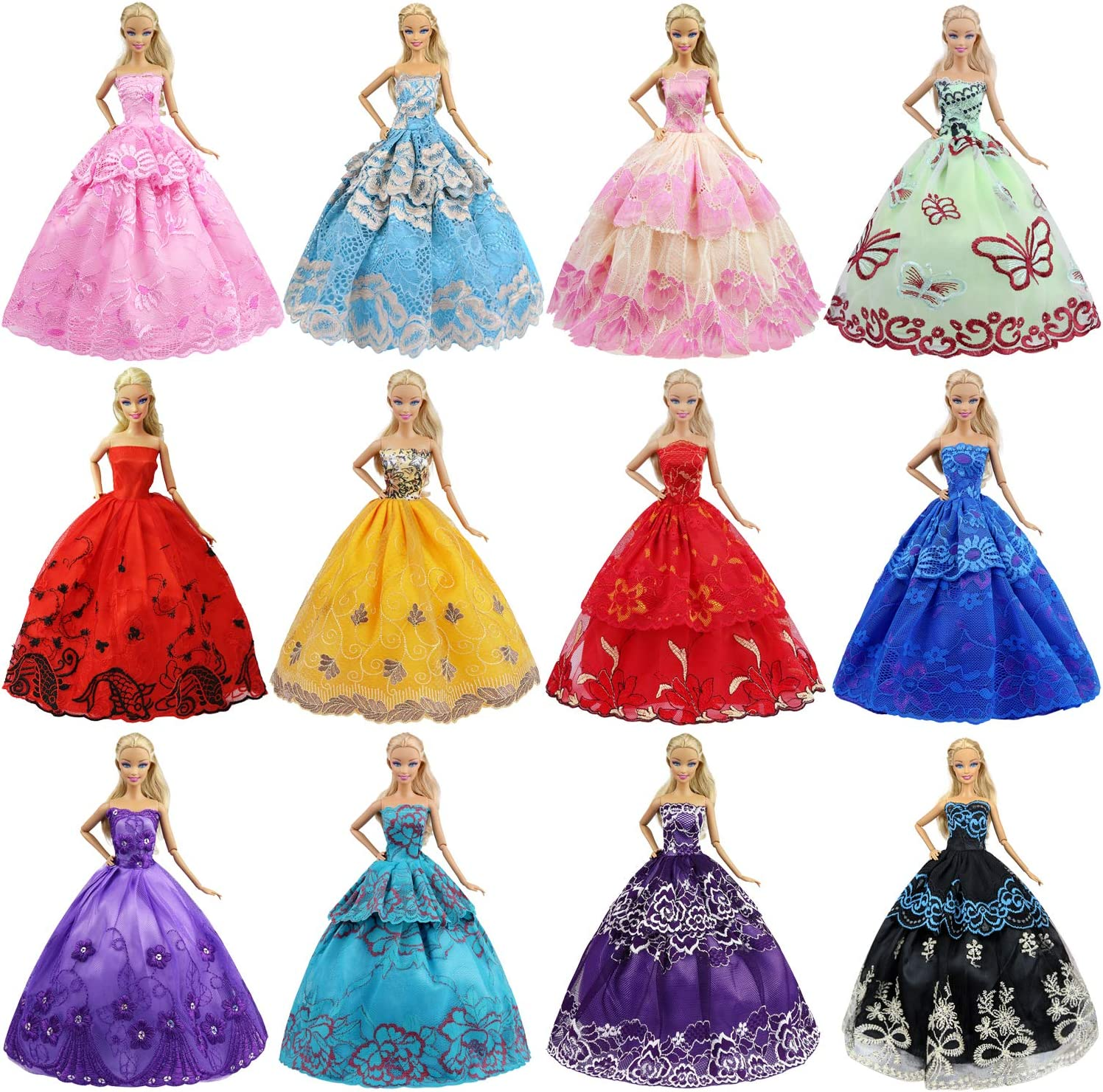 Amazon.com: ZITA ELEMENT Lot 6 Pcs 11.5 Inch Girl Doll Party Dress