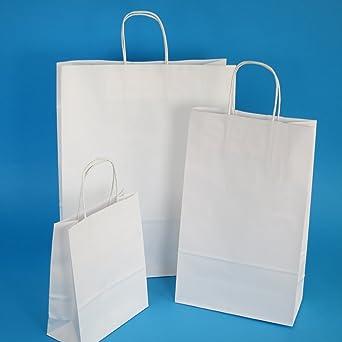 150 bolsas de papel 45 + 17 x 47 cm con cordón blanco bolsas ...