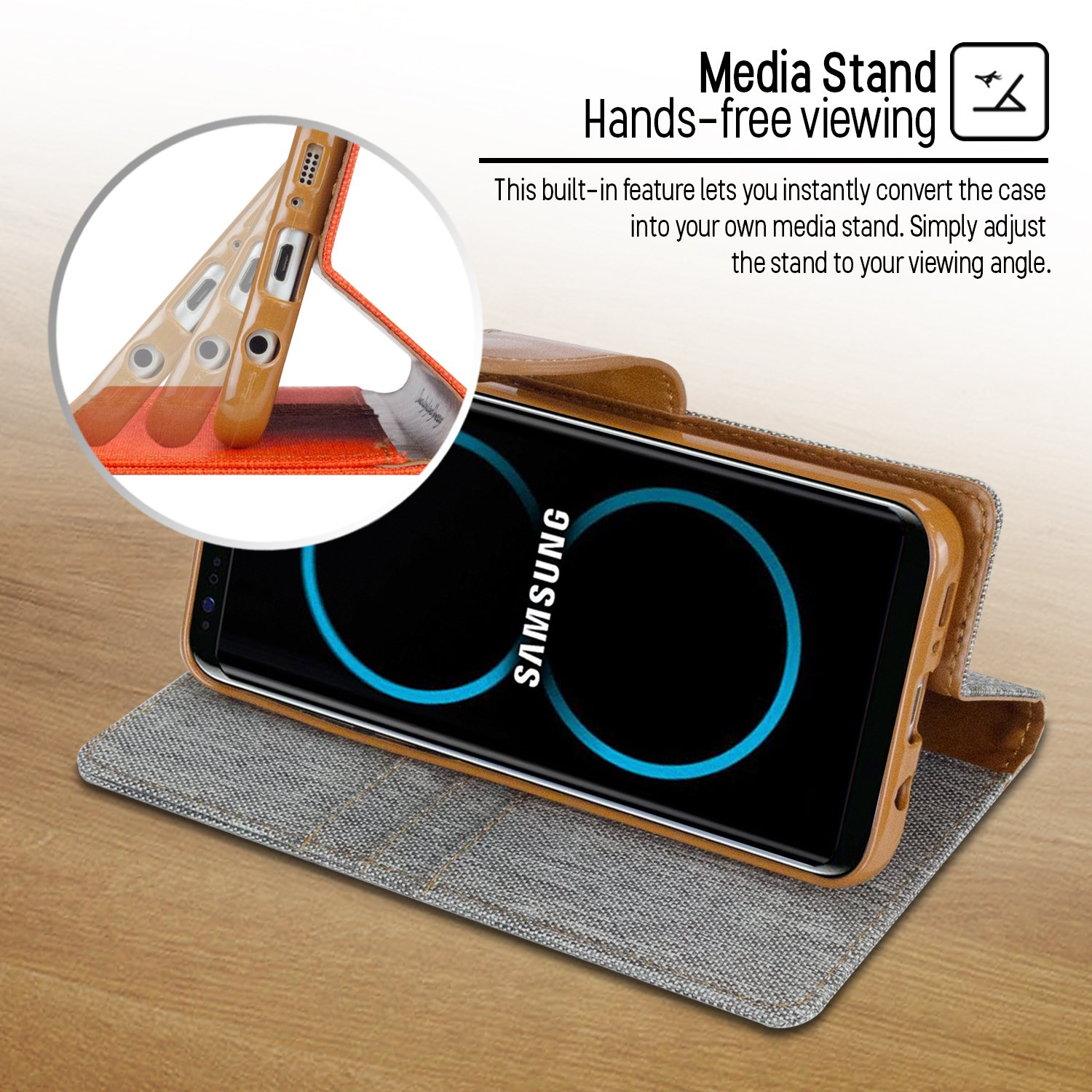 Goospery Galaxy S8 Case For Samsung Drop Canvas Diary Red Protection Denim Material Wallet Id Card Cash Slot Stand Flip Cover