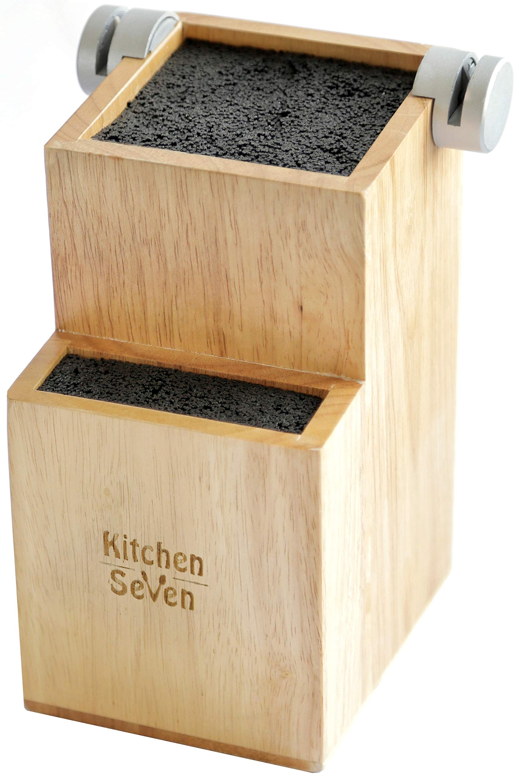 Bamboo Universal Knife Block – 2-Tiered Modern Knife Holder Stores Up to 16 Large and Small Knives – Hand-Finished, Easy Clean Bamboo Knife Organizer with 2 Built-In Knife Sharpeners by Kitchen Seven