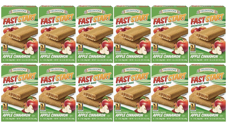 Fieldstone Bakery FastStart Apple Cinnamon Healthy Breakfast Bars, Full Case of 12 Boxes, 128 Individually Wrapped Snacks