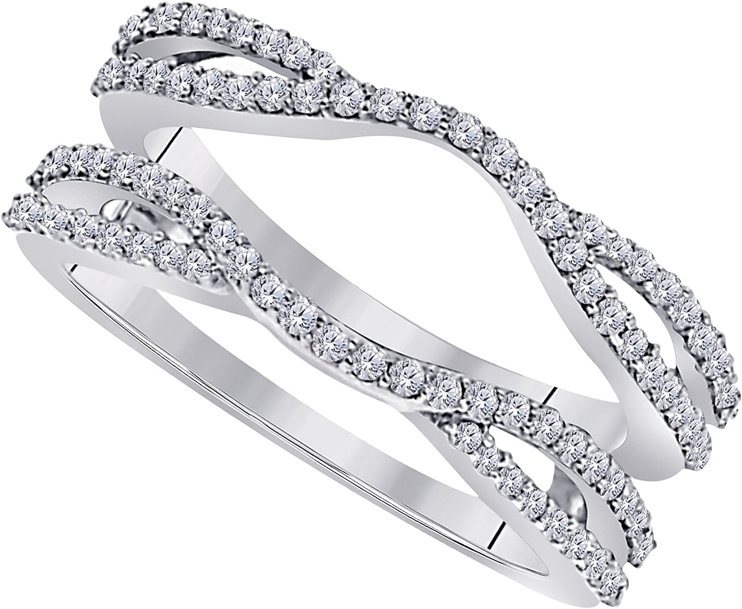 2 ct Solitaire Diamonds Ring Guard Women 14k White Gold Finish Wedding Band