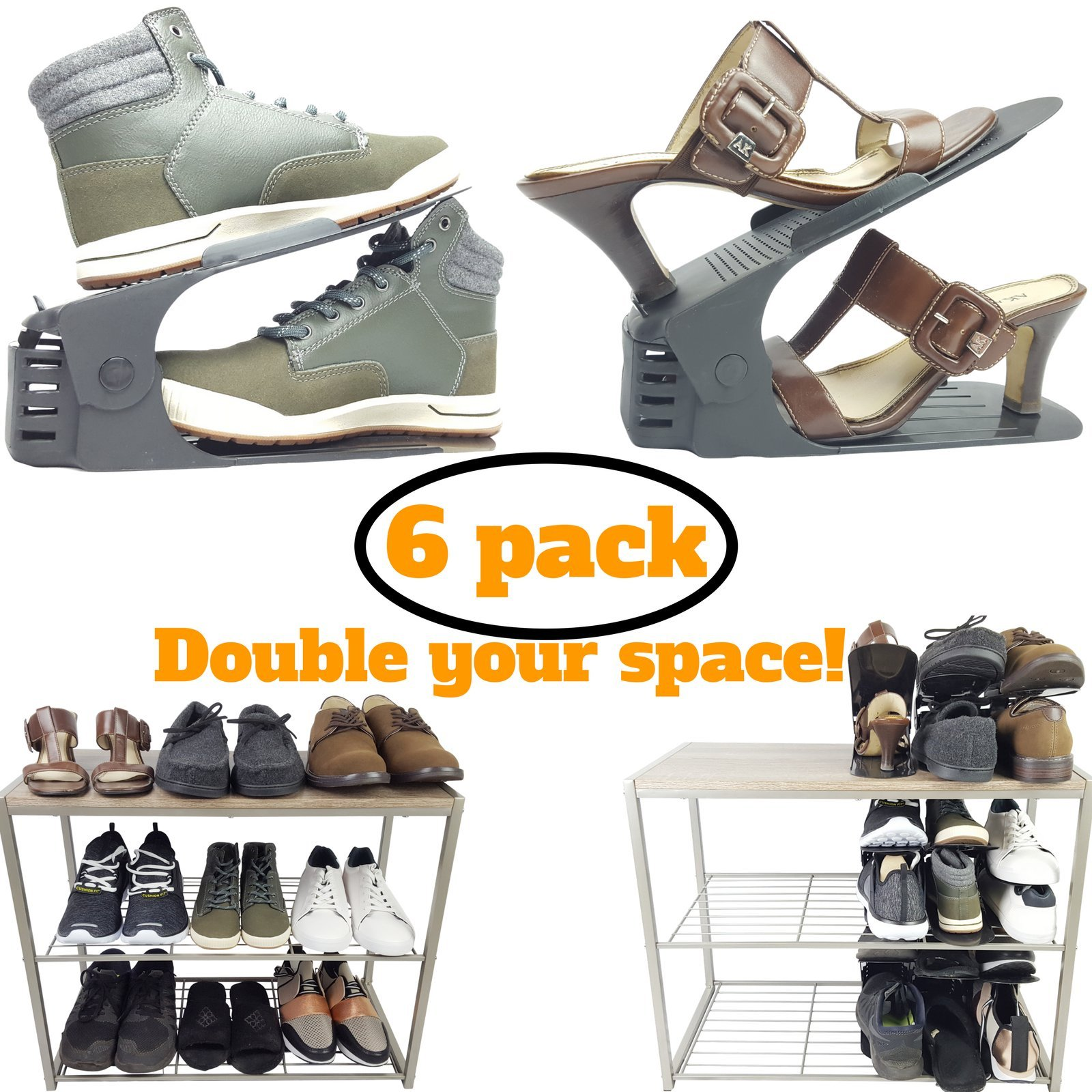 Modest Home - Shoe Stacker - 6 pack, Black Adjustable Shoe Organizer and Space Saver For Closet Organization, Kids Room, and Shoe Slots Storage.