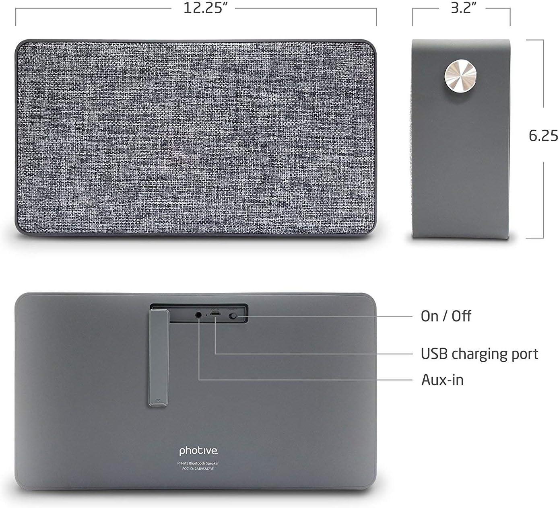 Photive M5 20 Watt Portable Wireless Fabric Bluetooth Speaker with Powerful Subwoofer
