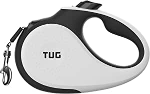 TUG 360° Tangle-Free, Heavy Duty Retractable Dog Leash for Up to 55 Lb Dogs; 16 Ft Strong Nylon Tape/Ribbon; One-Handed Brake, Pause, Lock
