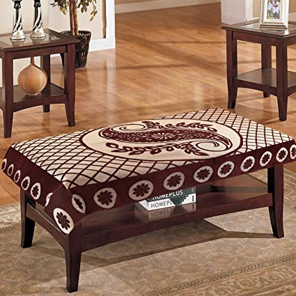 eretailer Cotton 4 Seater Leave Design Centre Table Cover (Brown, 40x60 inches)