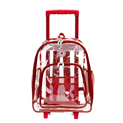 Rolling Clear Backpack Heavy Duty Bookbag See-thru Workbag Travel Daypack Transparent School Luggage with Wheels Red | Kids' Backpacks