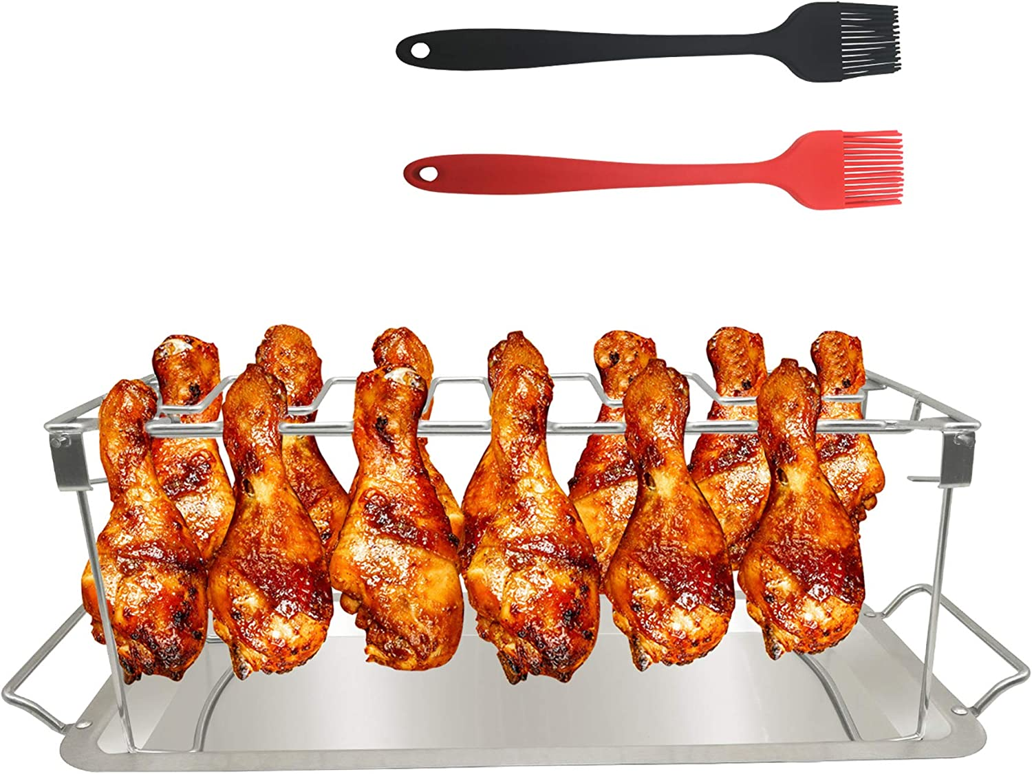 BBQ Beef Chicken Leg Wing Grill Rack 14 Slots Stainless Steel Barbecue Drumsticks Holder Smoker Oven Roaster Stand with Drip Pan and Brush Stainless Steel Roaster Stand BBQ Chicken Rack