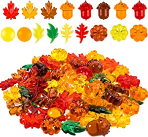 Whaline 220 Pcs Acrylic Fall Decorations, Mini Fall Leaves Pumpkin Marbles Pine Cones Autumn Table Scatter Vase Filler for Fall, Autumn and Thanksgiving Decor, Preschool Counting