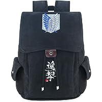 حقيبة ظهر روفاتايد أنيمي قماش للرجال كلية مدرسة حقيبة الرباط رفرف حزمة الظهر المطبوعة Daypack, , Attack on titan - Black…