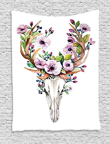 Ambesonne Skull Tapestry, Deer Animal Skull with Floral Horns Nature Inspired Dead and Living Art Print, Wall Hanging for Bedroom Living Room Dorm, 60 X 80 , Brown Cream