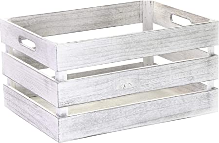 Caja de madera vintage de Laublust, con asas, aprox. 39 x 29 x 21 cm, color blanco, FSC® – Caja de almacenamiento para muebles: Amazon.es: Hogar
