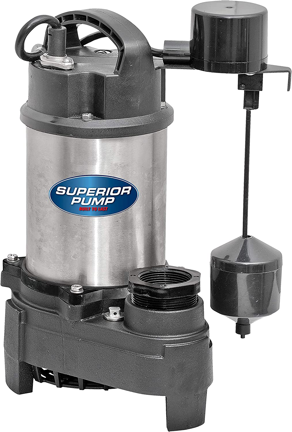 Superior Pump 92151 Stainless Steel 1 HP Cast Iron Sump Pump Side Discharge with Vertical Float Switch