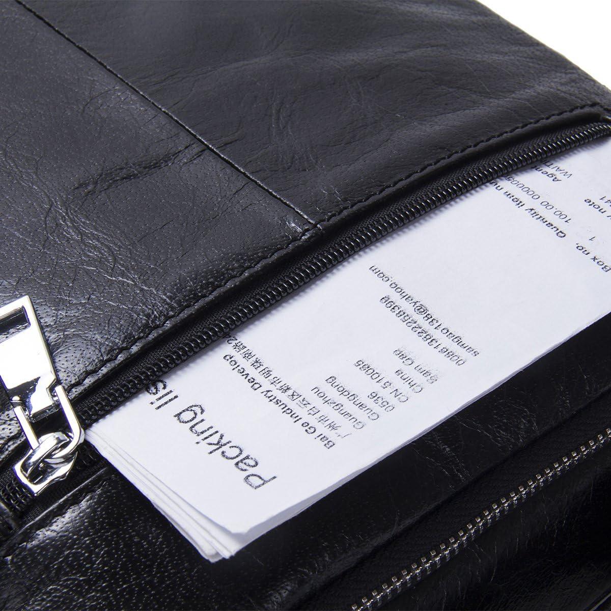 Contacts Sac fourre-tout pour homme en cuir v/éritable avec bandouli/ère unique 22,9 cm