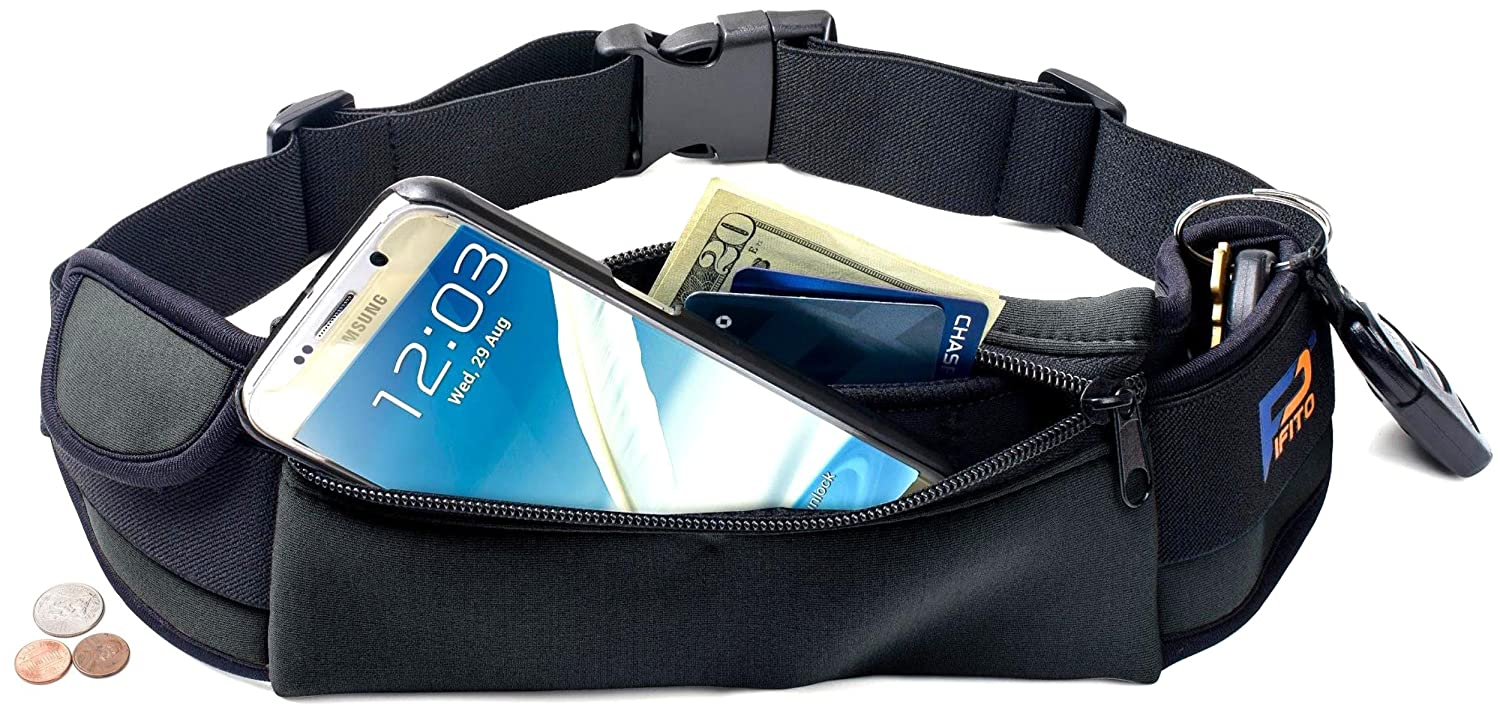 Pifito Running Belt – Premium Quality Stylish Waist Pack for iPhone Galaxy – Cozy Ample Space Fanny Pack Pouch Bag for Sports, Exercise, Walking, Jogging and Travel Black