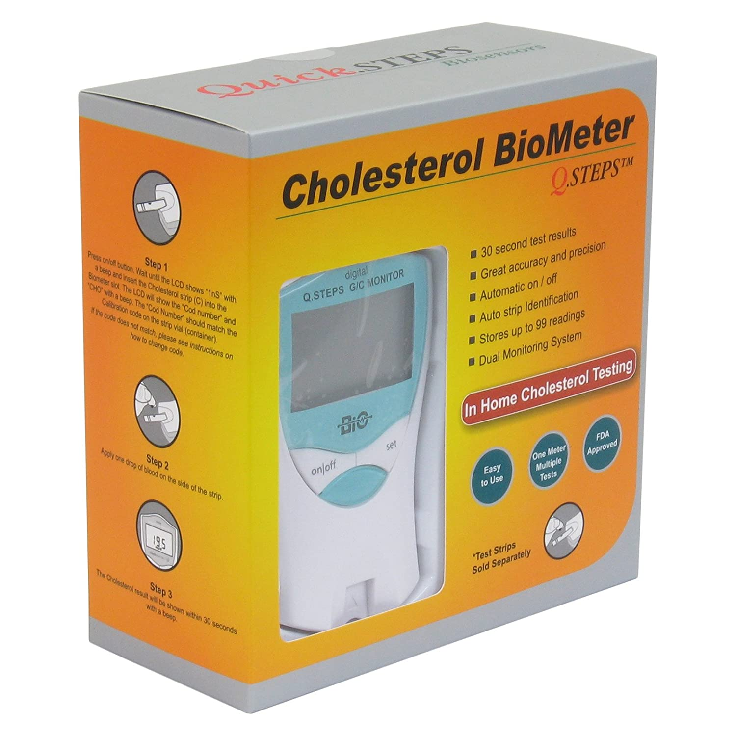 Q Steps Cholesterol Biometer Glucose Monitoring System Meter Health Personal Care