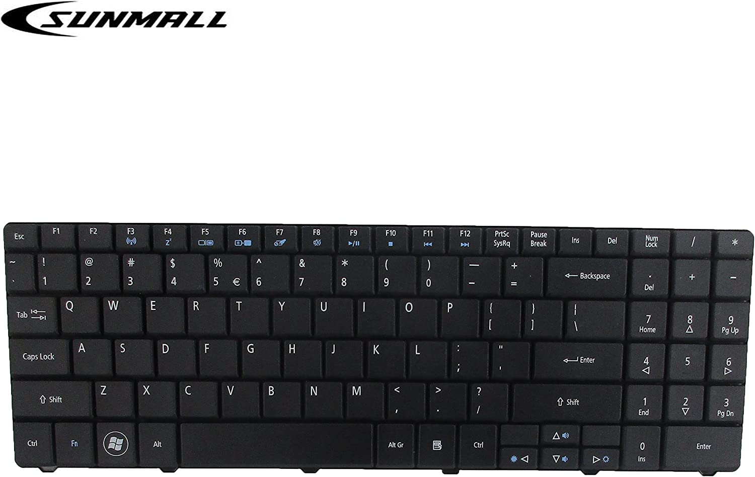 SUNMALL Keyboard Replacement for ACER Aspire 5516 5517 5532 7715 7715Z 5241 5541 5541G 5732Z 5334 5734 Emachines E525 E625 E627 E725 E527 E727 G420 G430 G525 Series Black US Layout