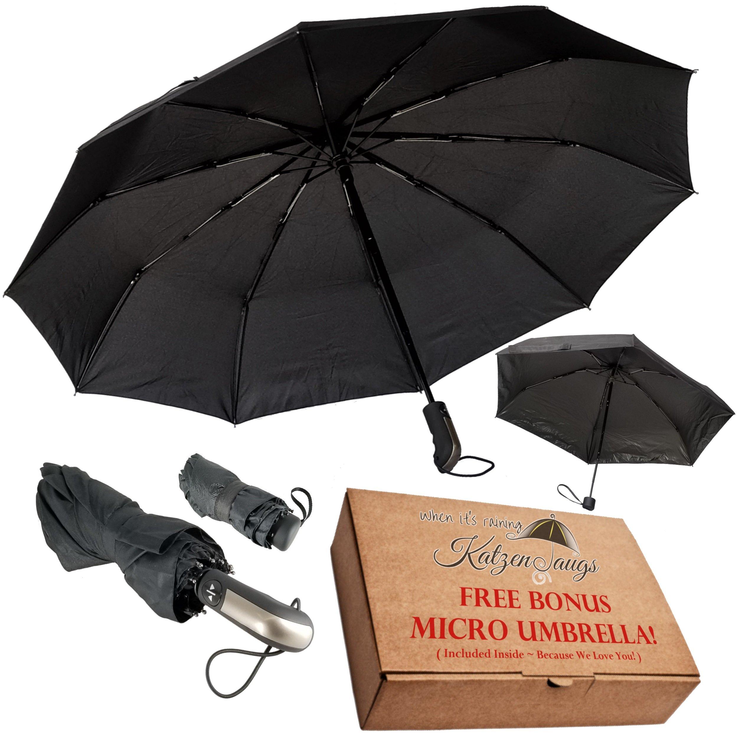 Compact Windproof Travel Umbrella -FREE Mini Black Umbrella- Katzendaügs 2pc Black by Katzendaügs Umbrella Co. (Image #1)