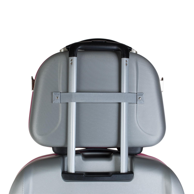 Fermeture /éclair Anse r/étractable et Nombreux Compartiments Trousse de Toilette Grande et Rigide en ABS Miroir 56525 Color Anthracite Bande pour accroche au Trolley JASLEN