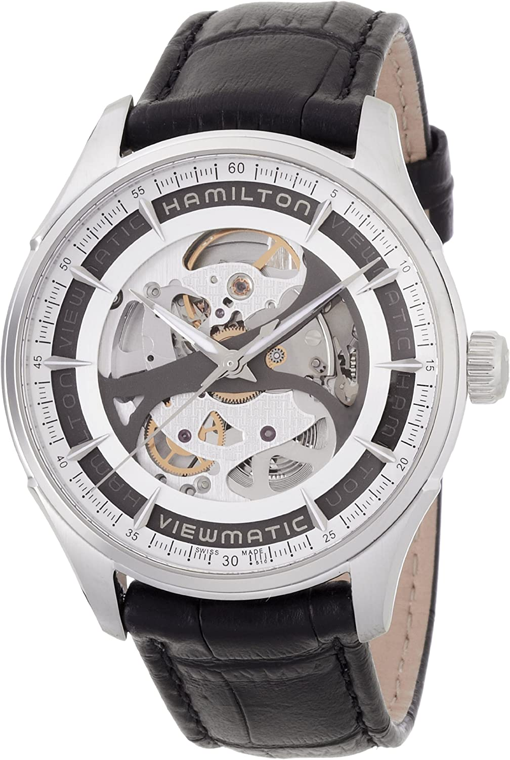 Hamilton Jazzmaster Viewmatic Automatic Skeleton Dial Black Leather Mens Watch H42555751