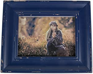 DII Z02189 Rustic Farmhouse Distressed Wooden Picture Frame for Wall Hanging or Desk Use, 5x7, Navy