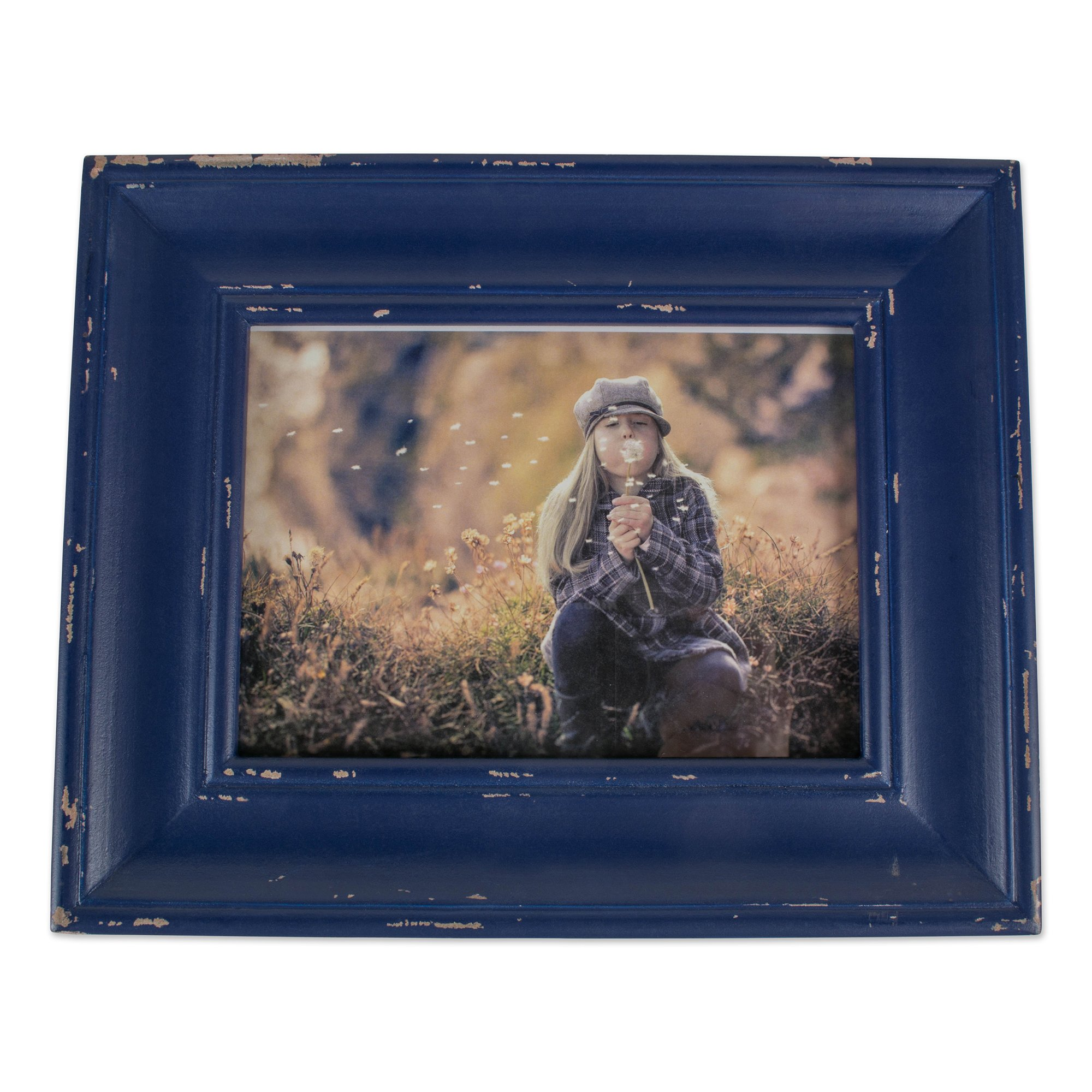 Home Traditions Z02190 Rustic Farmhouse Distressed Wooden Picture Frame for Wall Hanging or Desk Use, 8x10 Inch, Navy