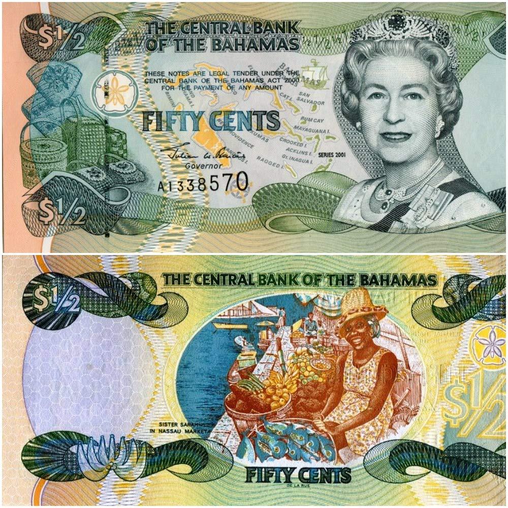 BAHAMAS  1//2 Half  Dollar 2001 UNC  P68  MAP FISH QUEEN  CURRENCY