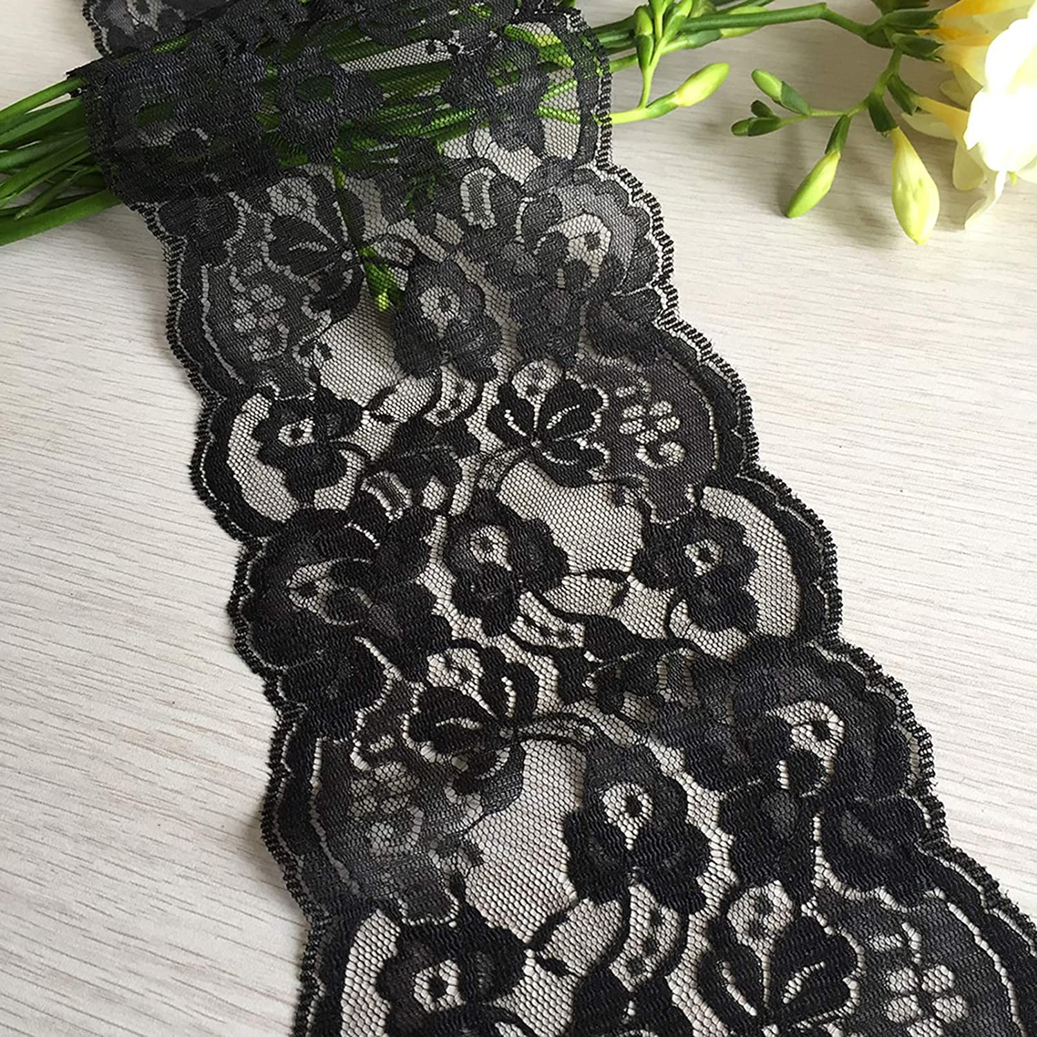 6822 Black LaceRealm 5.5 inch Wide Lace Trim Ribbon with Floral Pattern for Decorative Bridal Wedding Lace DIY Making Sewing Accessory-10 Yards
