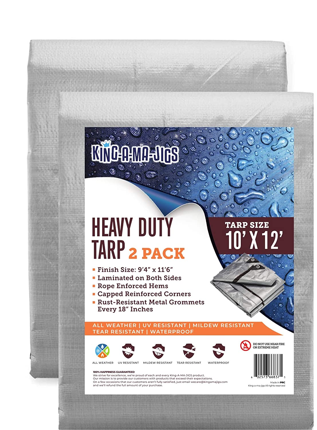 (2 Pack) 10x12 Heavy Duty Waterproof Tarp - Metal Grommets Every 18 Inches - Emergency Rain Shelter, Outdoor Cover and Camping Use - (10 Mil) (Silver and Brown) (10 Foot. x 12 Foot) 819AaOxDW2BL