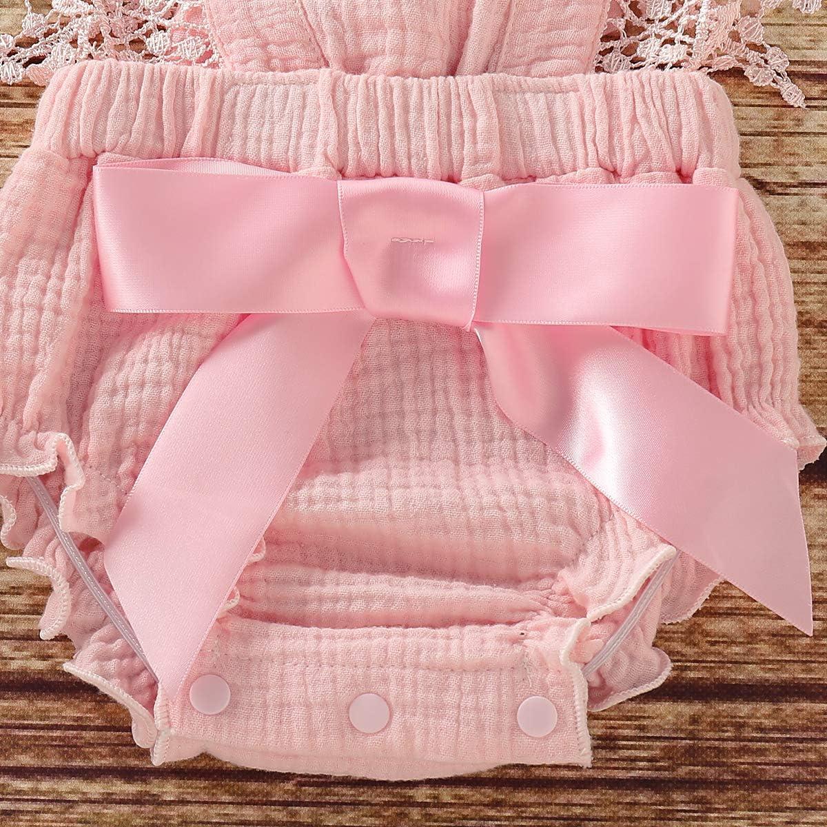 T TALENTBABY neonati ragazze Onsises estate pagliaccetto senza maniche Feste pizzo ruche Jumpsuit Outfits Bowknot Bodysuits casual spiaggia vestiti