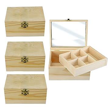 3er Set Holzkiste Holztruhe Mit Deckel Schatzkiste Diy Zum Bemalen Oder Zum Selber Gestalten 3x Holzbox Mit Spiegel Einsatz