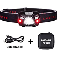 350 Lumens Ultra Bright Portable Sensor Improved CREE LED Headlamp - 8 Lighting Modes White & Red LED, 2.2 oz Lightweight, Rechargeable 48hours Use, Best Headlamp for Camping Any Lighting use