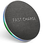 GETIHU Wireless Fast Charger QC2.0/3.0 Qi Phone Charging Pad Textured Pattern Enabled Charge Station Compatible with Smartphone iPhone X 8 Samsung Galaxy S8 Plus Note 8 5 S7 S6 Edge