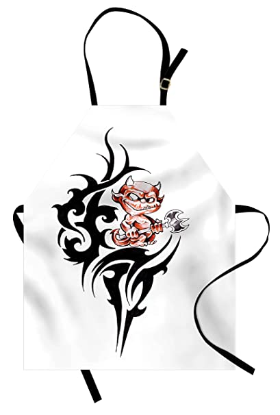 8dd3c8644 Lunarable Tattoo Apron, Cute Devil on Top of Japanese Warrior Dragon Form  Eastern Culture Concept