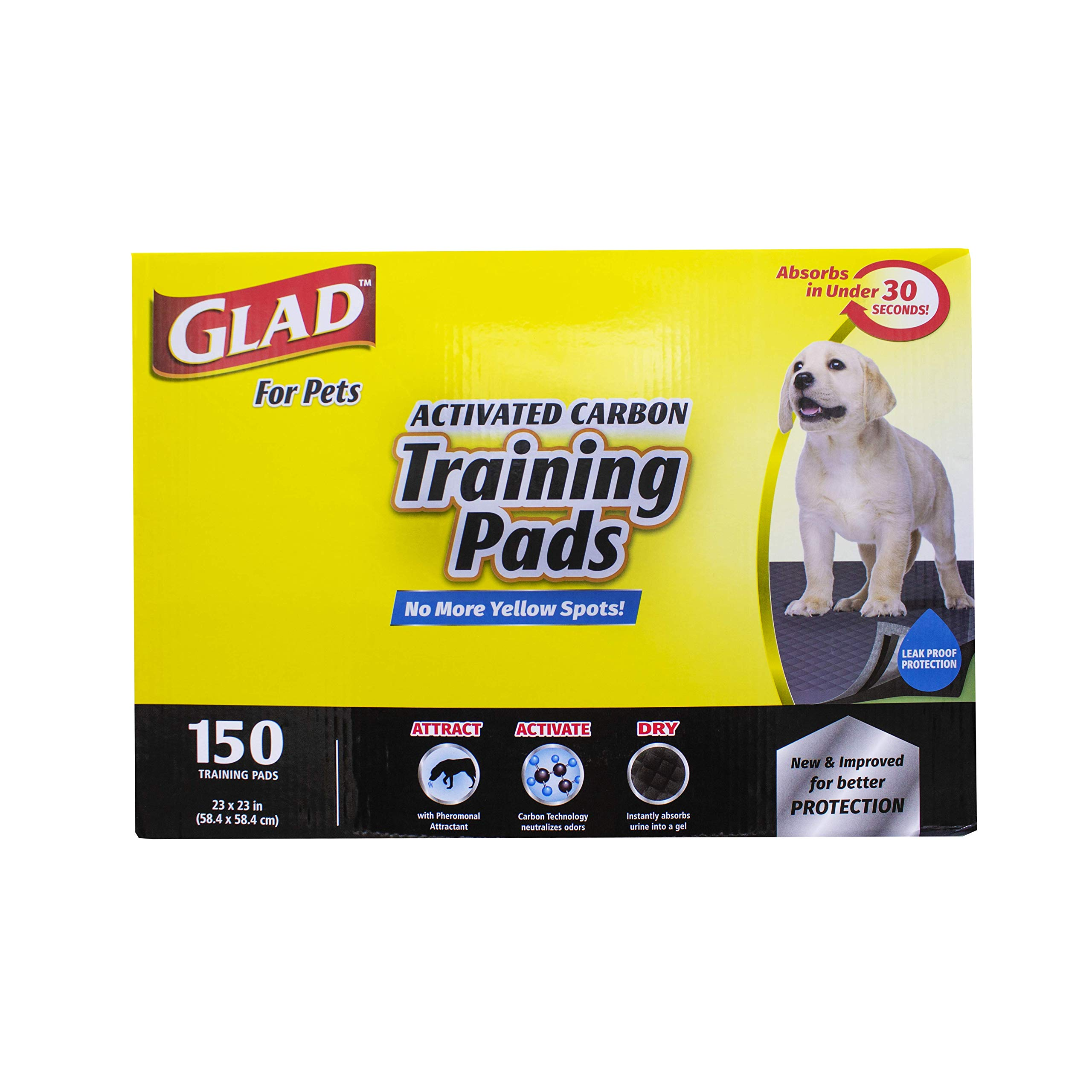 Glad for Pets Black Charcoal Puppy Pads | Puppy Potty Training Pads That ABSORB & NEUTRALIZE Urine Instantly | New & Improved Quality, 150 count by Glad for Pets