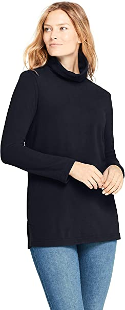 Lands' End Damen Fleece Rollkragenpullover 36 38 Schwarz