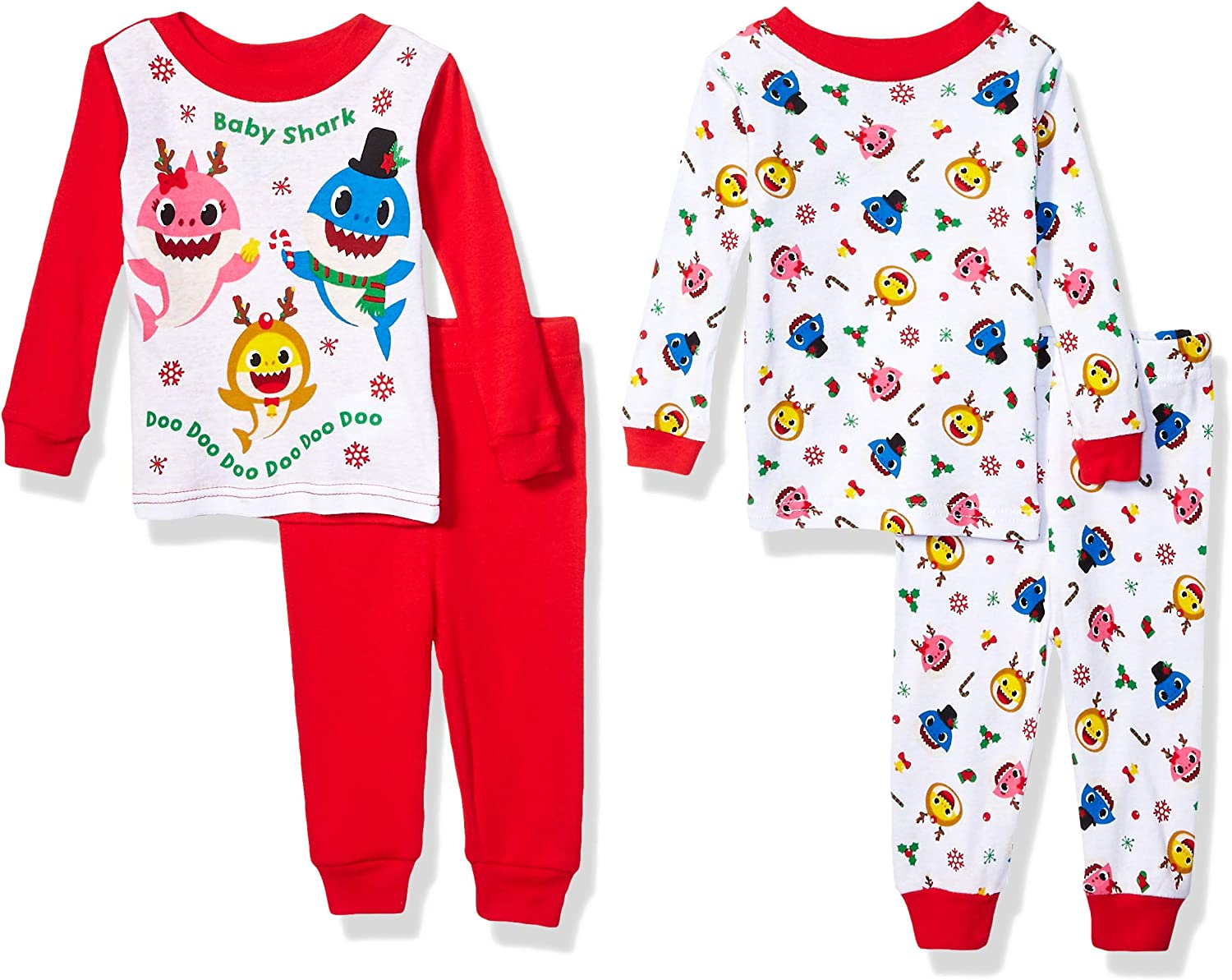 BABY SHARK CHRISTMAS 4 PIECE PAJAMAS SIZE 2T 3T 4T 5T NEW