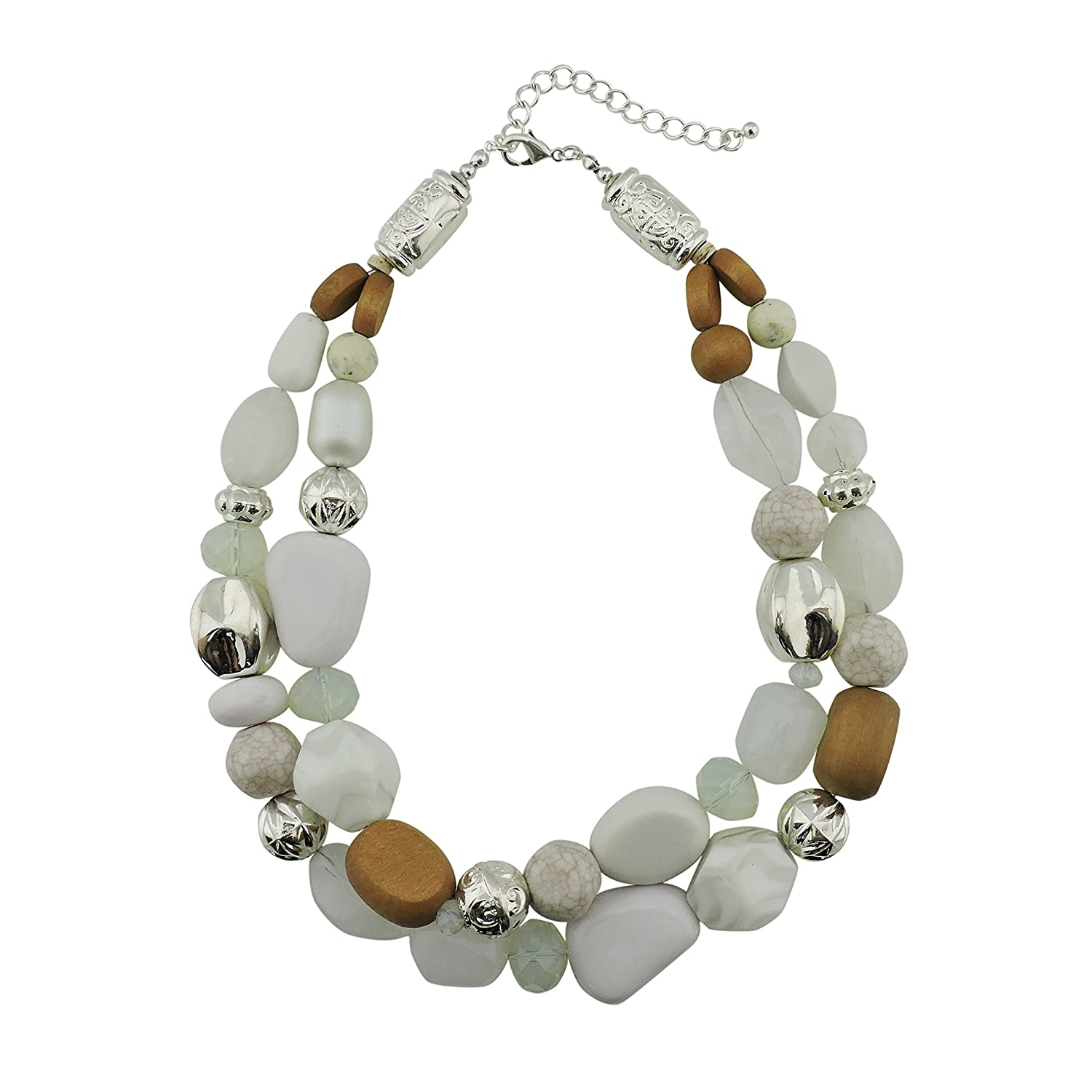 Bocar 2 Layer Statement Chunky Beaded Fashion Necklace for Women Gifts bocarjewelry NK-10384