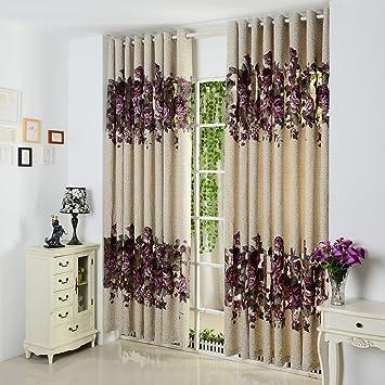 GWELL Elegant Blumen Vorhang Schal Mit Ösen TOP QUALITÄT Gardine Für  Wohnzimmer Schlafzimmer Beige Lila 1er