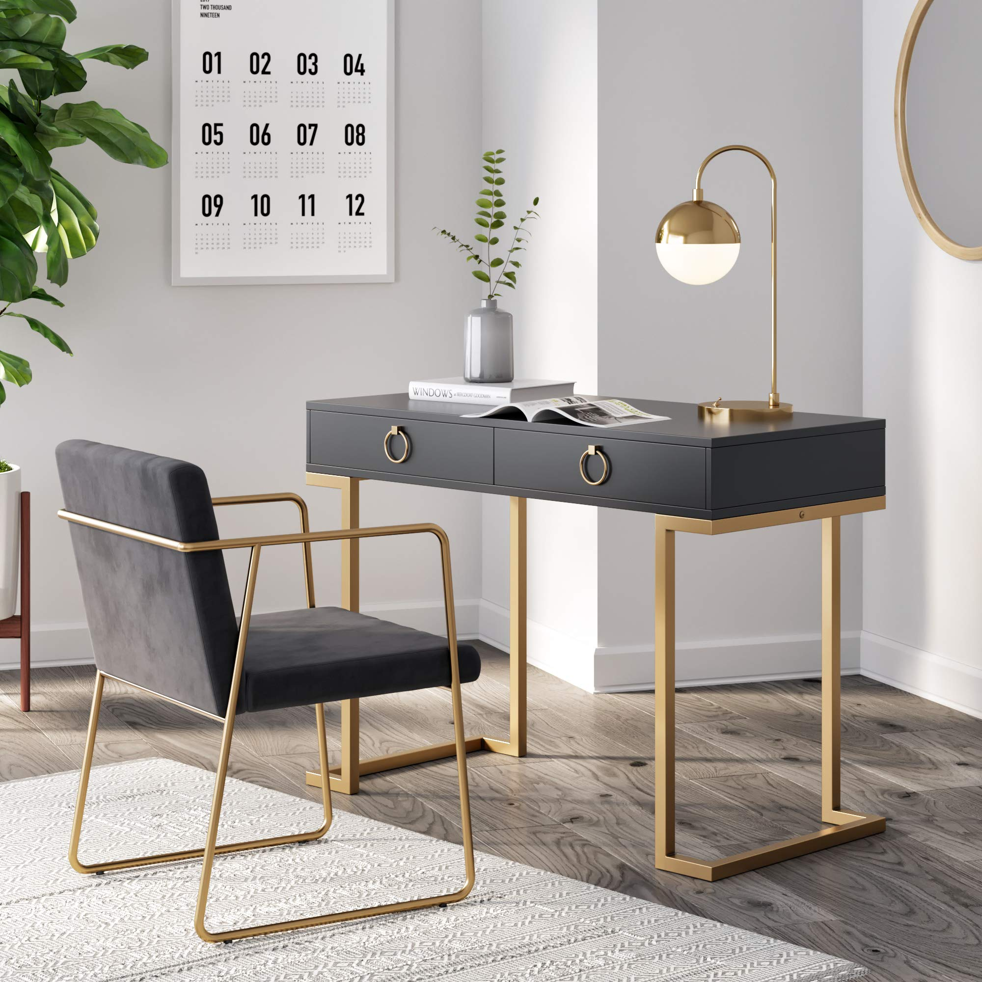 Nathan James 53302 Leighton Two-Drawer Home Office Computer Desk, Vanity Table, Black by Nathan James
