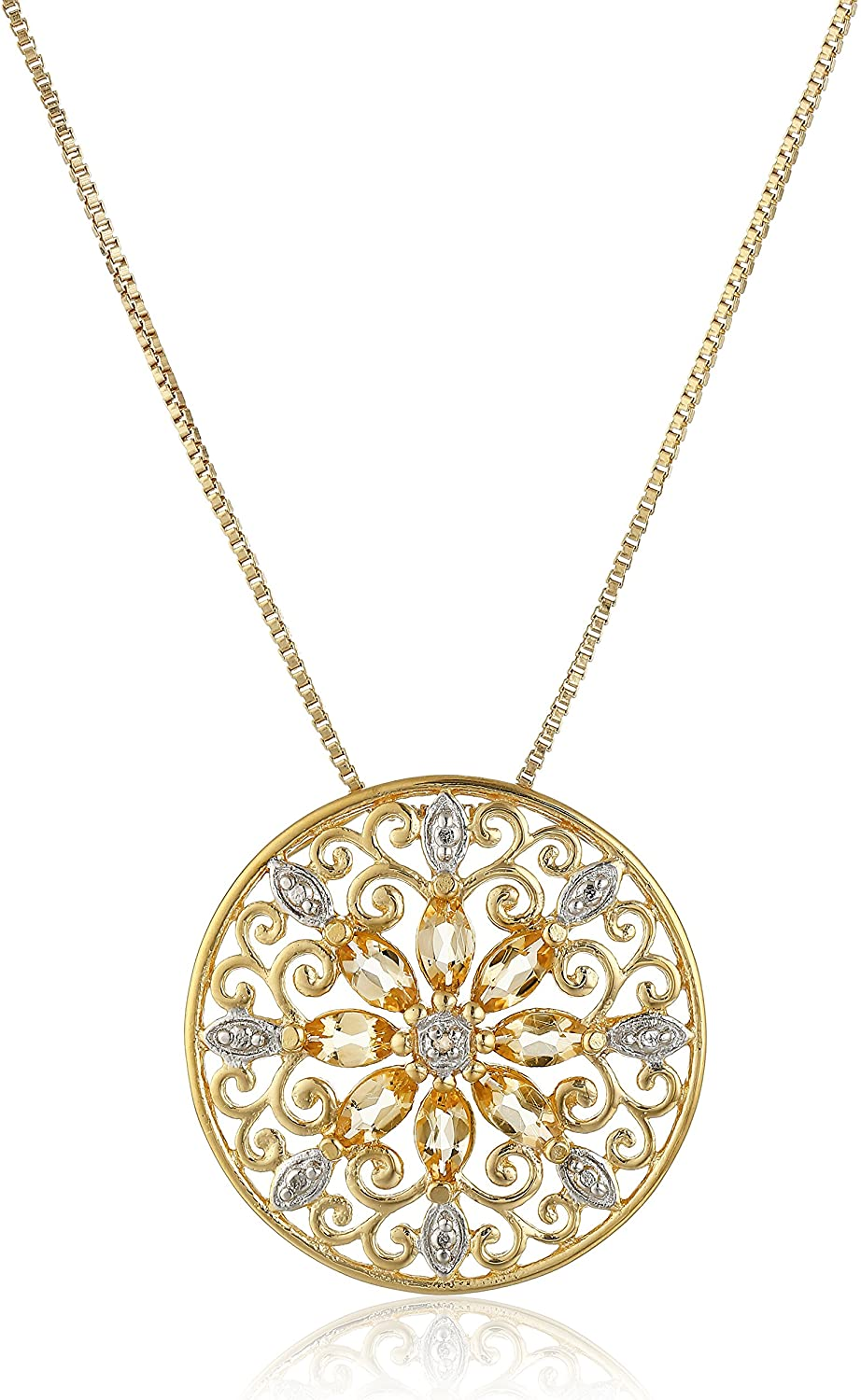 """18k Yellow Gold Plated Sterling Silver Gemstone and Diamond Accent Filigree Mandala Pendant Necklace, 18"""""""