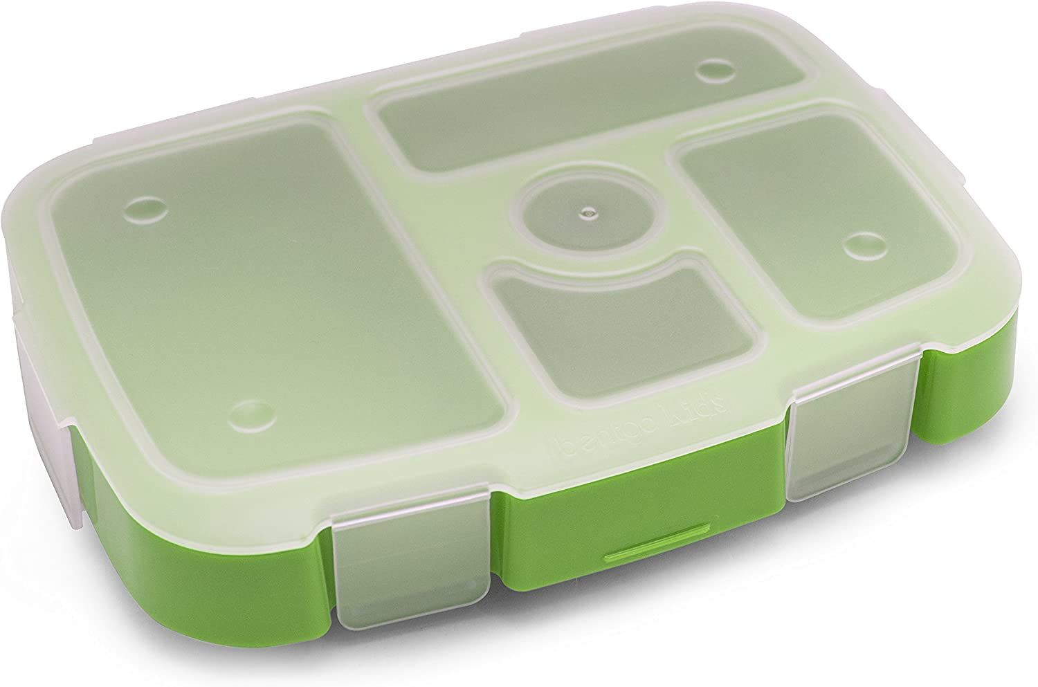 Bentgo Kids Tray (Green) with Transparent Cover for At-Home Meals, Lunch Meal Prep, and More
