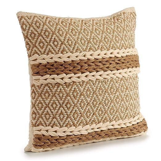 TU TENDENCIA UNICA Cojín Decorativo de Punto Gris con Motivos y Flecos de algodón en Beige. Medidas: 45x15x45 cm