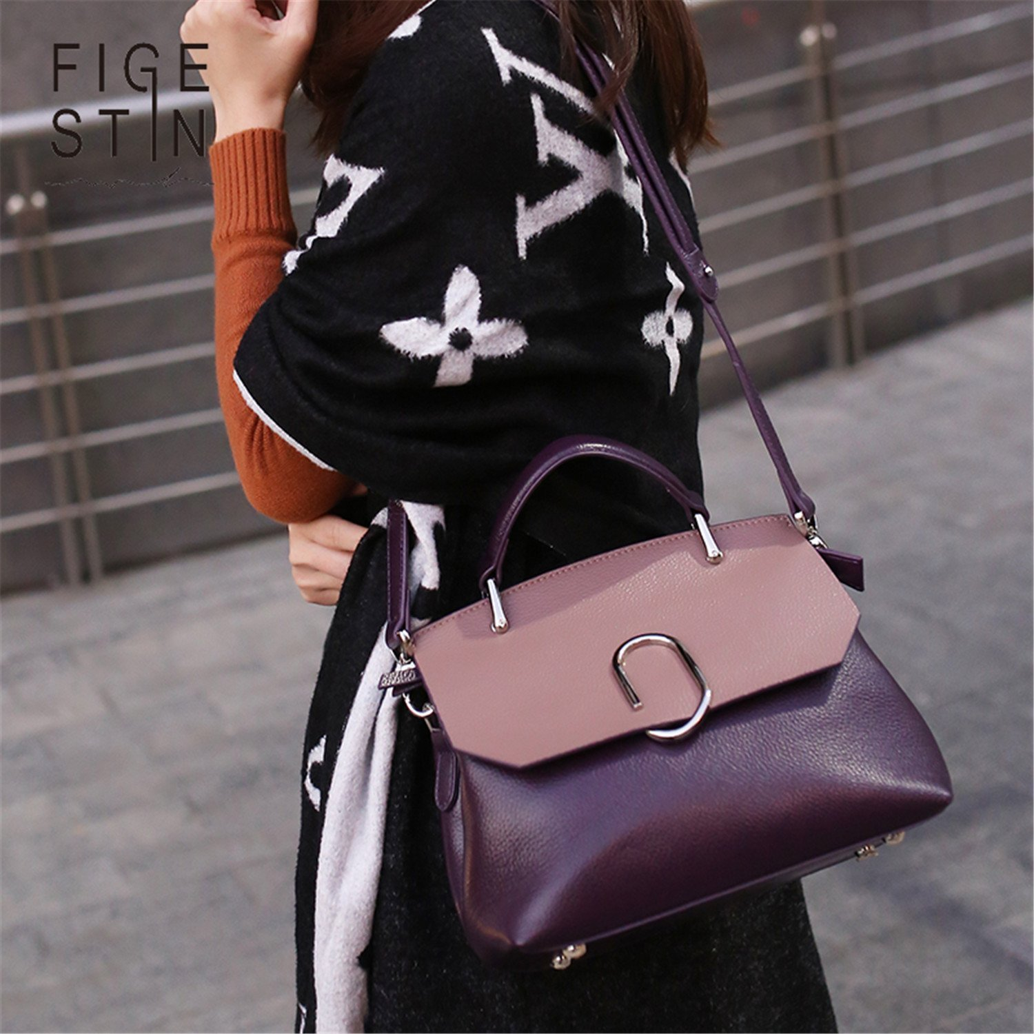 LOKOUO Women Bags Designer Real Cow Leather Purple//Green//Khaki Panelled Cover Soft Luxury Shoulder Bags Handbag Evening Gift