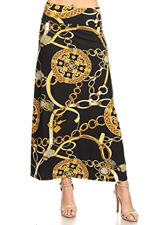 de7711936 Casual Lightweight Comfy Floral Pattern Print A-Line Maxi Skirt/Made in USA  Chain